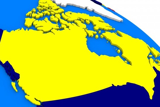 Canada on colorful political globe. 3D illustration